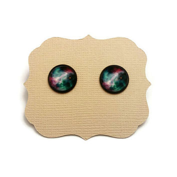 Galaxy Earrings • Space Earrings  • Star Post Earrings  • Galaxy Cabochon Jewelry • Galaxy Posts • Science Gifts • Gifts Under 10 •Star Gift
