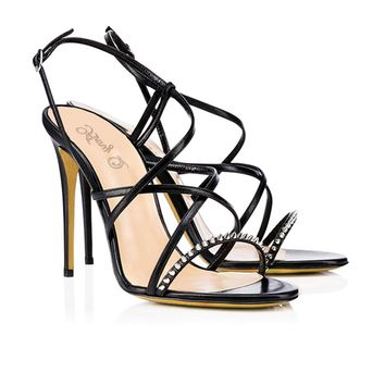 Rivets PU Open Toe Ankle Strap Simple Stiletto High Heel Sandals