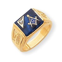 Men's Diamond and Created Blue Spinel Masonic Ring
