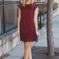Hopeless Romantic Dress - Burgundy