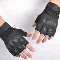 Black Military Cycling Half-Finger Gloves