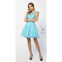 Aqua Illusion Beaded Bodice Sleeveless Homecoming Dress Short