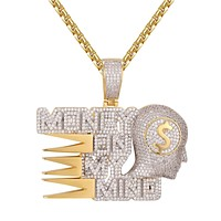 Custom Money on my Mind Rich Gold Tone Dollar Icy Pendant