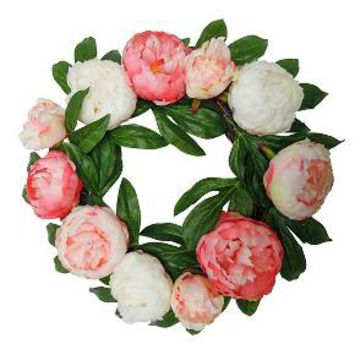 """Artificial Peony Wreath Pink (18"""") - Threshold™"""