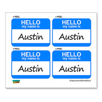 Austin Hello My Name Is - Sheet of 4 Stickers