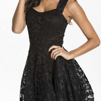 Womens Floral Lace Skater Pleated Party Casual Dress