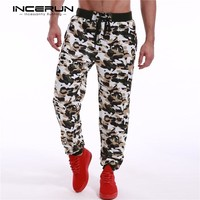 Mens sweatpants camo camouflage joggers tapered bottom tactical hunting pants