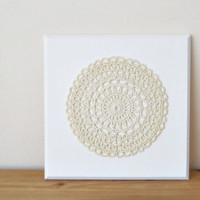 Mandala wall art, crochet doily wall decoration, fiber wall hanging, shabby chic home decor, wedding gift