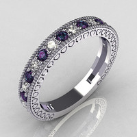 Lovables 950 Platinum .27 ctw Diamond .24 ctw Alexandrite Stackable Designer Ring RB72-PLATDAL