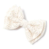 Crocheted Lace Double Bow Hair Clip