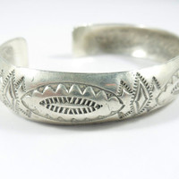 Handcrafted Sterling Silver Native American Etched Bracelet, Vintage Jewelry Cuff Bracelet, American Indian Bracelet, Silver Cuff Bracelet