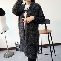 Style Long Sleeve Loose Thick Knitted Cardigan Women Sweater Long Cardigan Sweaters Long Coat