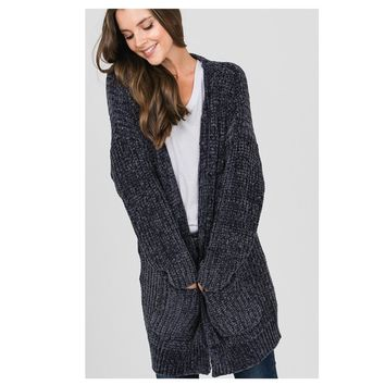 Cozy Super Soft Charcoal Chenille Cardigan with Pockets