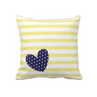 Yellow & White Stripes + Navy Blue Polka Dot Heart Throw Pillow from zazzle.com/shaleceelynne*