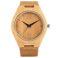 Vintage Men Wood Watch Minimalism Simple Handmade Carving Quartz Wooden Bamboo Women Sports Clock with Genuine Leather Gift Bag