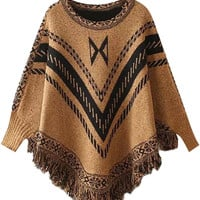 Khaki Fall Fashion Poncho Sweater