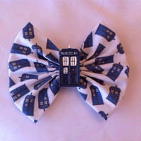 Doctor Who Inspired Tardis Large Fabric Hair Bow with Police Box Resin