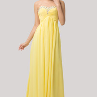 Yellow Strapless Beaded Ruched Lace Up Back Evening Dress