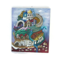 Original surreal painting oil on canvas. Different building styles of man combined to a tower of babel