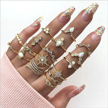 Vintage Gold Sun Crystal Opal Geometry Ring Sets For Women Adjustable Fashion Rings Female Valentine Wedding Gift