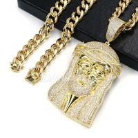 14k ICED JUMBO Jesus Face Brass Pendant w/10mm Cuban Chain
