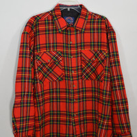 90s Flannel Shirt Mens XL Oversize Plaid Soft Grunge Preppy Hipster Vintage Clothing Women's Unisex Red Yellow Black Green Bright 1990s