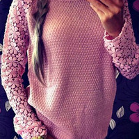 Pink Cut Out Lace Long Sleeve Knit Sweater