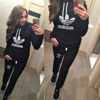 """""""Adidas"""" Fashion Casual Letter Print Hooded Long Sleeve Set Two-Piece Sportswear"""