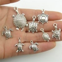 B8Q266 Mixed 8pcs/set Alloy Sea Animal Turtle Tortoise Silver Pendant Charms Jewelry Accessories