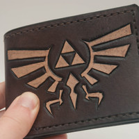 Legend of Zelda Inspired Hand-Made Billfold Leather Wallet - Triforce (Made to Order)