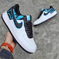 Nike Air Force 1 Low Top Classic Men's and Women's Fashion Sneakers F White/blue