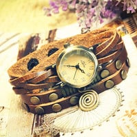 Wrist watch Handmade Wristwatches Vintage Ladies Girls Womens Mens Leather Bangle Bracelet Quartz Studded Band (WAT0007)