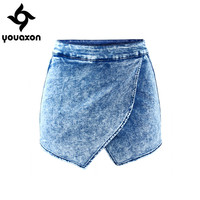 1892 Youaxon Women`s Fldas Y Shorts High Waist Acid Wash Denim Short Pants For Women Jeans Skort