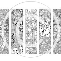Five bookmarks to colour, colouring page, for children and adults, Zentangle® patterns, Set 1