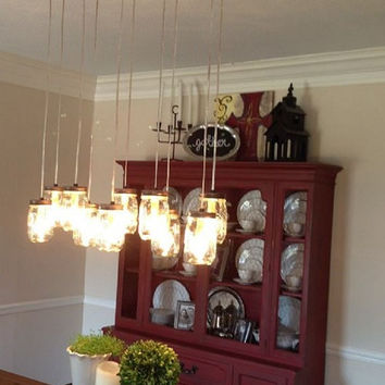 10 Light DIY Mason Jar Chandelier - Rustic Cedar