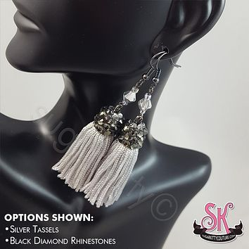 Custom Rhinestone Tassel Earrings