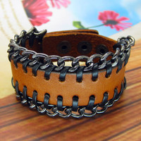 Rock  Punk Style Orange Leather with Chain Women Leather Cuff Bracelet Friendship  Gift  SL0019-OR