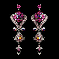 Dazzling Pink Chandelier Wedding and Prom Earrings