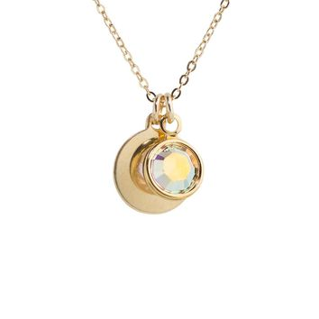 Iridescent Crystal + Disc Necklace