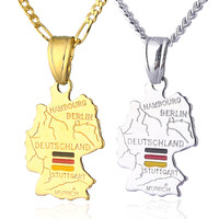18k Gold Plated Germany Map Pendant Necklace