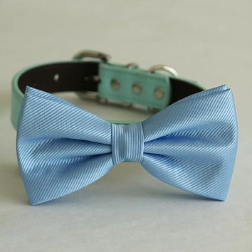 Blue bow tie collar Leather dog Ivory blue orange copper Navy brown or Gold collar dog of honor dog ring bearer Puppy XS to XXL collar and bow tie, adjustable
