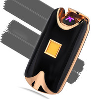 2016 new fashion and hot selling USB Electric Dual Arc Metal Flameless fingerprint Rechargeable Windproof Lighter