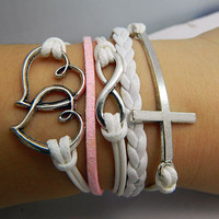 Telesthesia Lovers bracelet--silver 8 infinity wish ,Heart linked to heart and cross bracelet,white leather,pink  wax rope leather bracelet