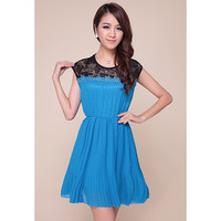 Blue Floral Lace Pleated Chiffon Dress
