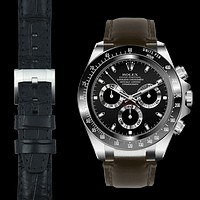 Steel End Link Leather Strap for Rolex Ceramic Daytona with Tang Buckle
