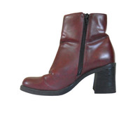 Vintage 90s Boot Red Boot Chunky Heel Boot Block Heel Boot Chunky Women Boot Square Toe Boot 90s Rave Boot Vegan Boot Ankle Boot Women Shoe