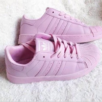 """""""Adidas"""" Fashion Shell-toe Flats Sneakers Sport Shoes Pure color Pink"""