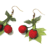 Turkish oya Cherry earrings.silk needle lace.colorfast washable.swings in the form.length of 6 cm.