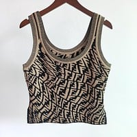FENDI summer new style FF irregular letter jacquard self-cultivation age-reducing knitted vest women