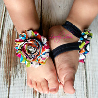 Baby Barefoot Sandals..Colorful Flowers ..Toddler Sandals..Newborn Sandals